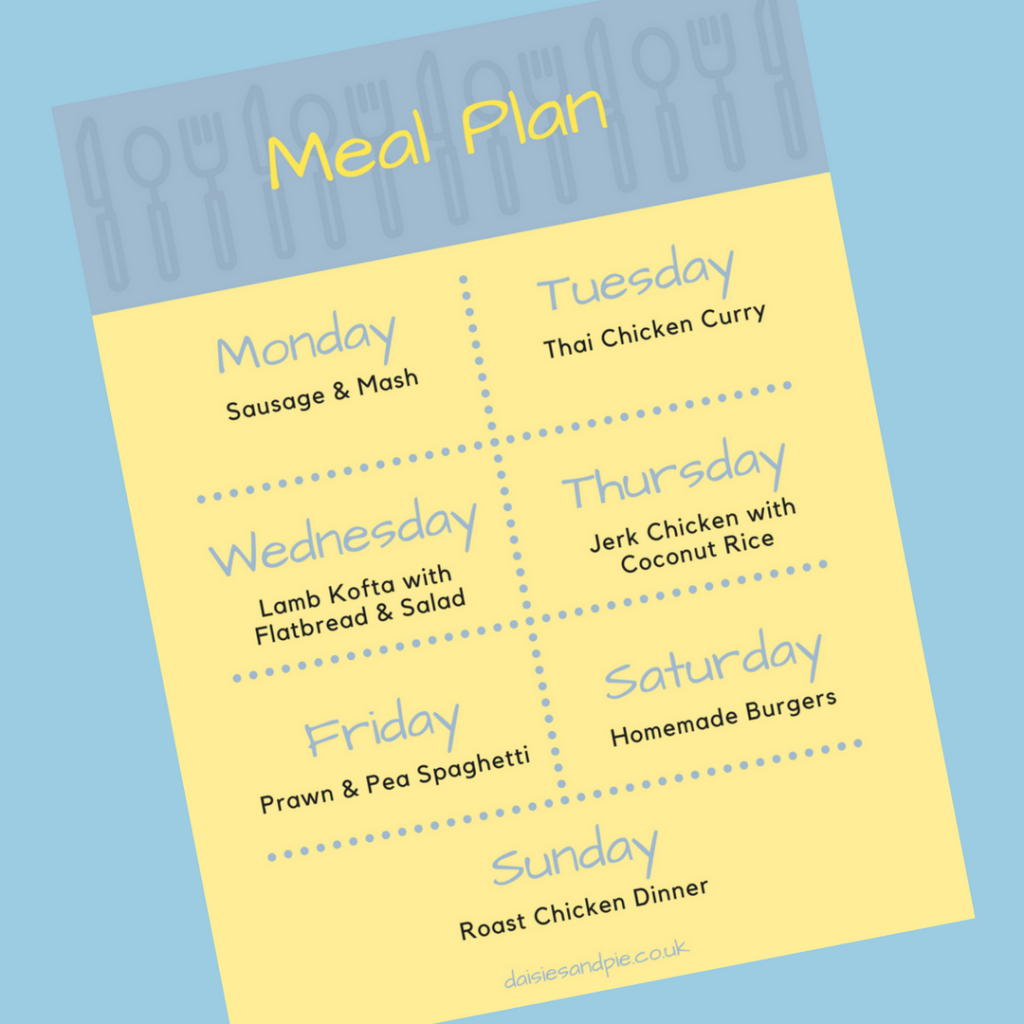 Family Meal Plan 19th February 2018