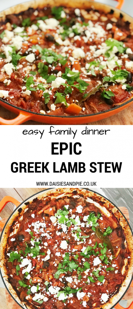 "Two images - one side on one from above of Orange coloured cast iron skillet pan filled with Greek lamb stew - scattered with feta cheese and chopped parsley. Text overlay saying ""easy family dinner epic greek lamb stew"""