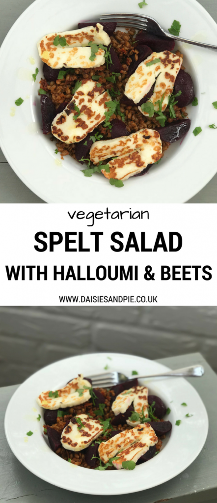 "2 images one shot from above and one side on showing a grey painted stool with white plate on top filled with spelt salad topped with griddled halloumi, chilli flavoured baby beets and a scattering of chopped flat leaf parsley. Text overlay saying ""vegetarian spelt salad with halloumi and beets"""