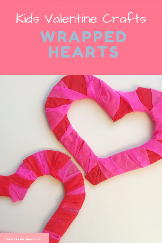 "two cardboard heart shapes wrapped in crepe paper to create a heart decoration. Text "" kids valentines crafts - wrapped hearts - www.daisiesandpie.co.uk"""