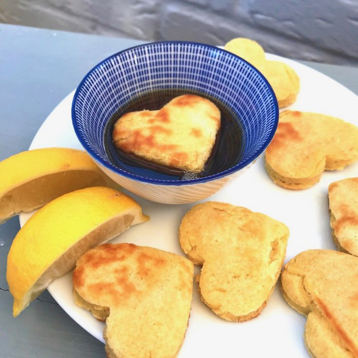 mini heart pancakes with maple syrup dip and lemon wedges
