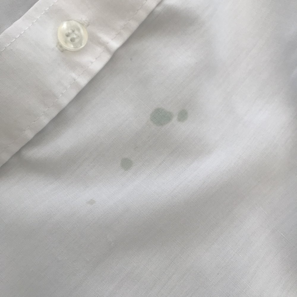 white shirt with permanent ink treated with ACE power mousse stain remover