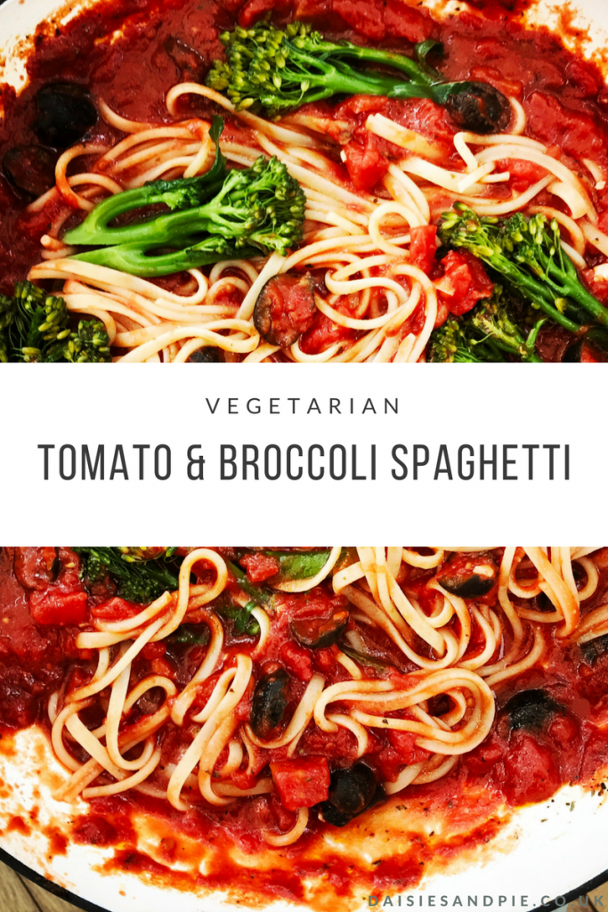 "panful of spaghetti in tomato and olive sauce with tender stem broccoli mingled in. Text overlay saying ""vegetarian tomato and broccoli spaghetti"""