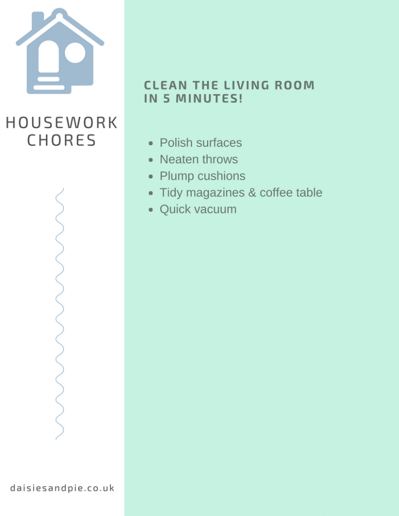 printable checklist on cleaning the living room in just 5 minutes