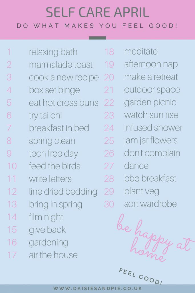 printable list of self care ideas you can do at home
