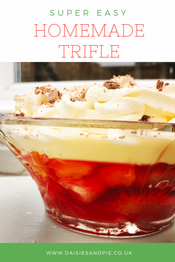 "homemade trifle. Text overlay saying ""super easy homemade trifle"""