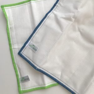 ecoegg antibacterial wood fibre cloths with blue trim and green trim