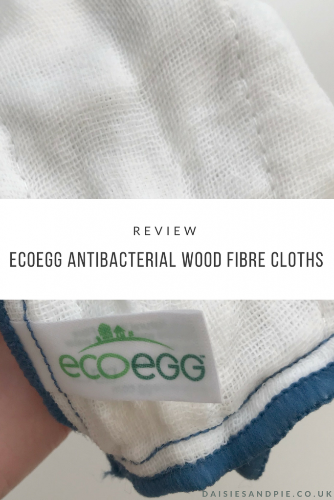 "EcoEgg antibacterial wood fibre cloth with blue trim. Text overlay saying ""review ecoegg antibacterial wood fibre cloths"""