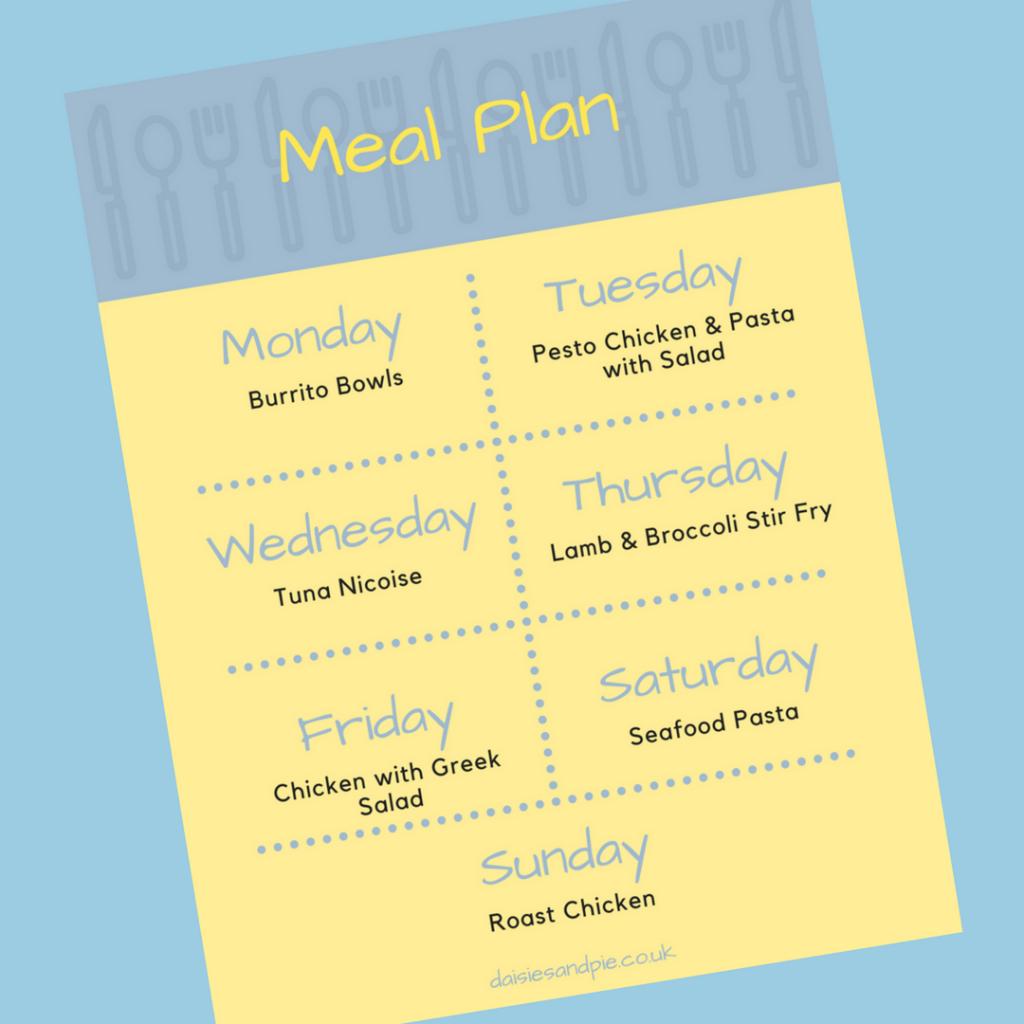"printable family meal plan. Text saying ""Meal Plan - Monday - burrito bowl, Tuesday - pesto chicken and pasta salad, Wednesday - Tuna Nicoise, Thursday - lamb and broccoli stir fry, Friday - Chicken greek salad, Saturday - seafood pasta, Sunday - roast chicken"""