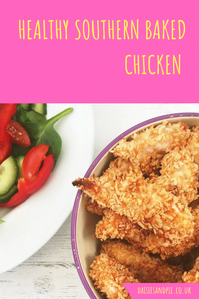 "bowl of healthy oven baked southern fried chicken. Text overlay saying ""healthy southern baked chicken"""