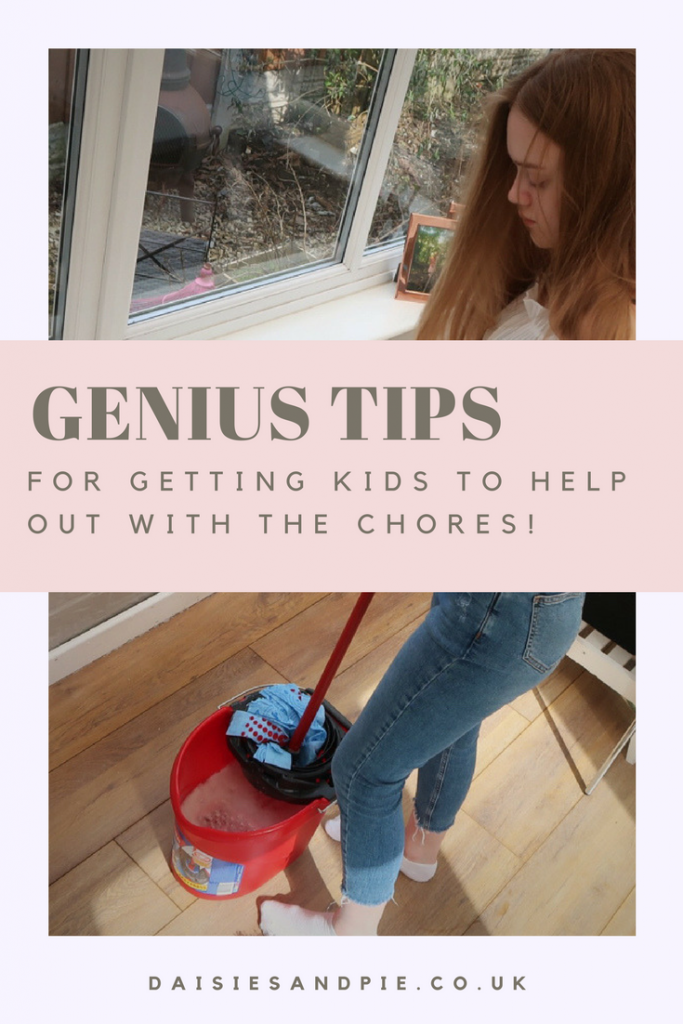 "teenage girl mopping with a vileda supermocio mop and bucket. Text overlay saying ""genius tips for getting the kids to help out with the chores"""