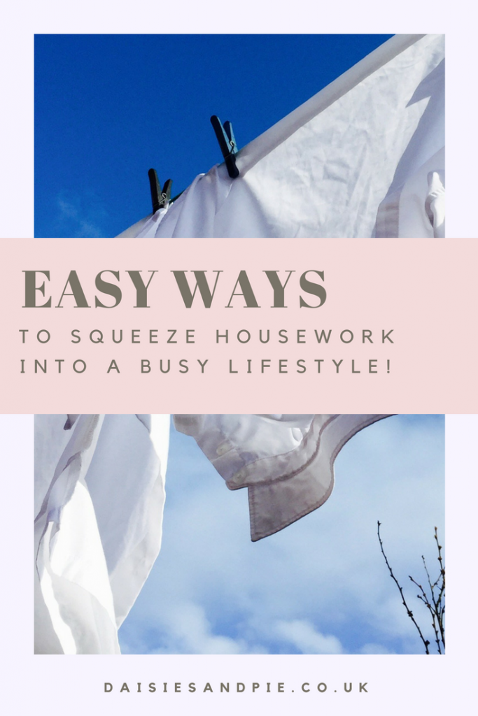 "bright blue skies with a washing line of white washing blowing in the breeze. Text overlay saying ""easy was to squeeze housework into a busy lifestyle"""