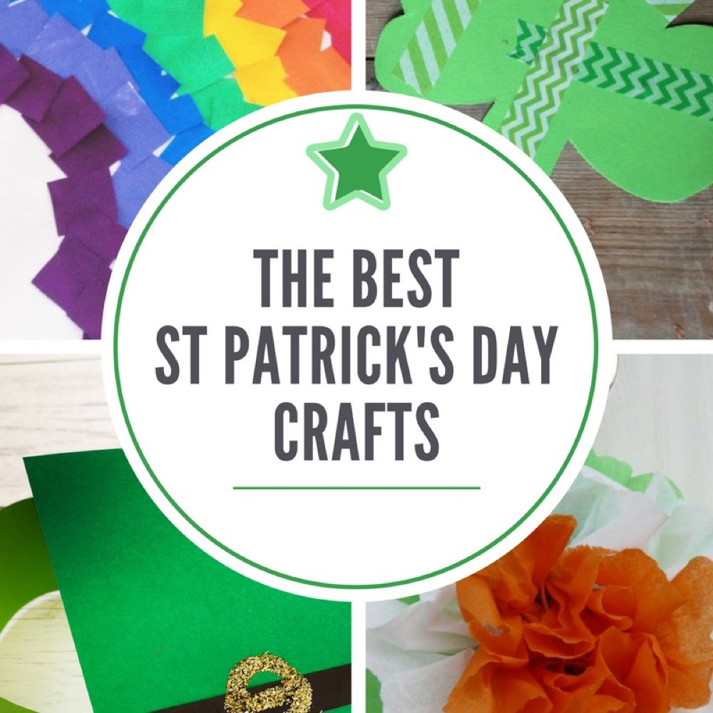 "image split into four - one showing rainbow, one showing shamrock, one with irish flag decoration and one with leprechaun hat. Text overlay saying ""the best st patricks day crafts"""