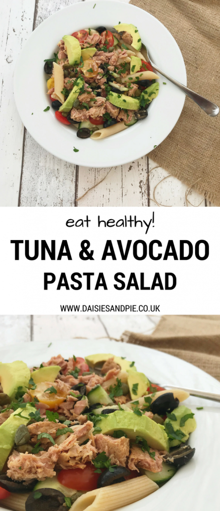 "homemade tuna pasta salad - white wooden table with hessian cloth - white plate loaded with tuna and avocado pasta salad. Text overlay saying ""eat healthy tuna and avocado pasta salad"""