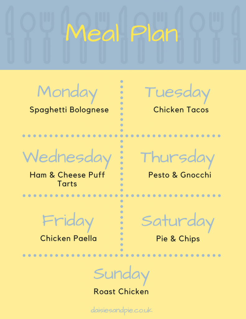 A weekly meal plan - Monday - spaghetti bolognese, Tuesday - chicken tacos, Wednesday - Ham & Cheese puff tarts, Thursday - Gnocchi & Pesto, Friday - Chicken Paella, Saturday - Pie & Chips, Sunday - Roast Chicken