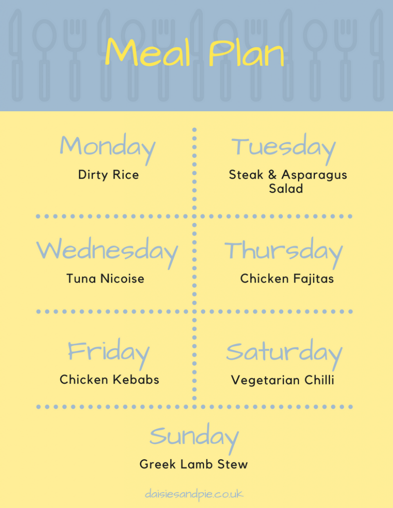 "printable family meal plan - text saying "" Monday - dirty rice, Tuesday - steak and asparagus salad, Wednesday - Tuna Nicoise, Thursday - Chicken Fajitas, Friday - Chicken Kebabs, Saturday - vegetarian chilli, Sunday - greek lamb stew"""