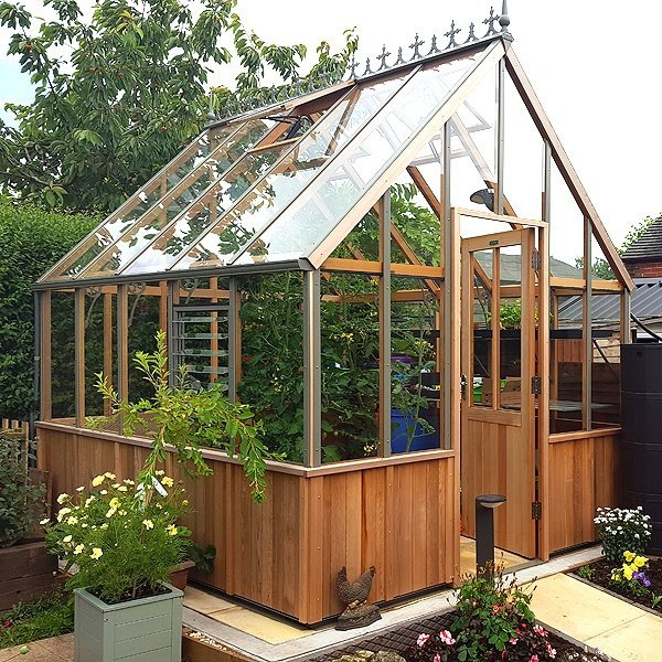 GBC Group Alton Cheltenham Half Boarded The Alton Cheltenham is a beautiful Victorian cedar greenhouse with half-boarded cedar panels and attractive powder coated aluminium fittings.