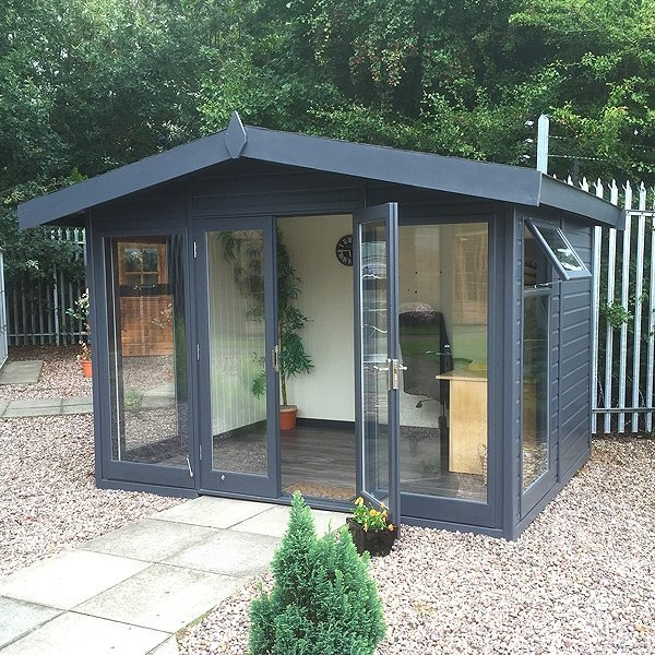 GBC Group Malvern Studio Apex An ideal combination of summerhouse and garden office. Features stylish glass to ground windows with double glazing as standard creating a modern, light and spacious garden room.