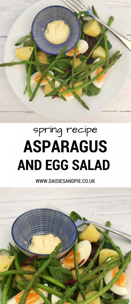 "white plate with asparagus and egg salad with baby new potatoes and a mustard mayonnaise dip in a small blue and white bowl. Text overlay saying ""spring recipe asparagus and egg salad"""