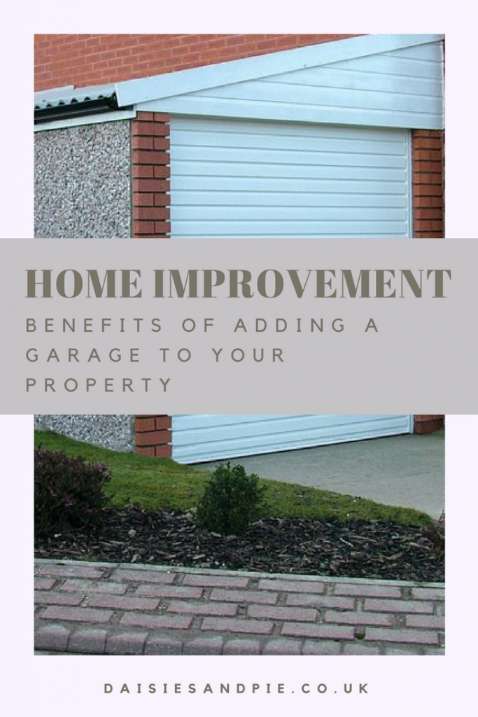 "lean to garage from Lidget. Text overlay saying ""home improvement benefits of adding a garage to your property"""