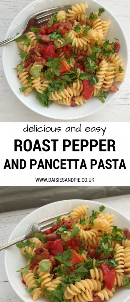 """white bowl filled with pancetta and roast pepper pasta sprinkled with chopped flat leaf parsley. Text overlay saying """"easy and delicious roast pepper and pancetta pasta"""""""