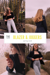 "4 images of blonde teenage girl wearing the blazer and joggers spring look - photos taken in country park setting with gates, bridges and woods in the backdrops. Text overlay saying ""the blazer and joggers spring look"""