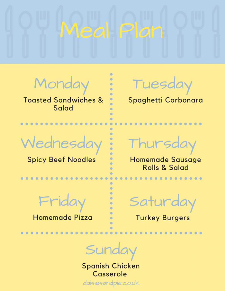 Printable weekly family meal plan - Monday - Toasted Sandwiches and Salad, Tuesday - Spaghetti Carbonara, Wednesday - Spicy Beef Noodles, Thursday - Homemade Sausage Rolls and Salad, Friday - Homemade Pizza, Saturday - Turkey Burgers, Sunday - Spanish Chicken Casserole