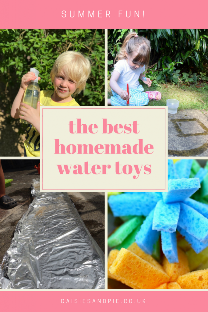 "photo collage of children with homemade water toys playing in the garden. Text overlay saying ""the best homemade water toys"""
