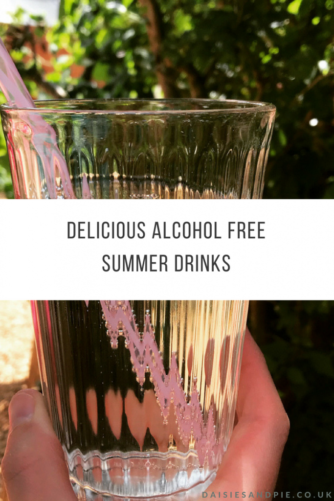 "glass of elderflower and rose cordial made up with sparkling water and served with a pink reusable straw. Text overlay saying ""delicious alcohol free summer drinks"""
