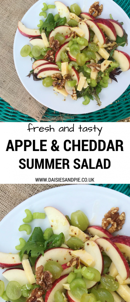 "plate of homemade apple and cheddar salad with salad leaves, celery, walnuts, apples and mustard dressing. Text overlay saying ""fresh and tasty apple and cheddar summer salad - www.daisiesandpie.co.uk"""