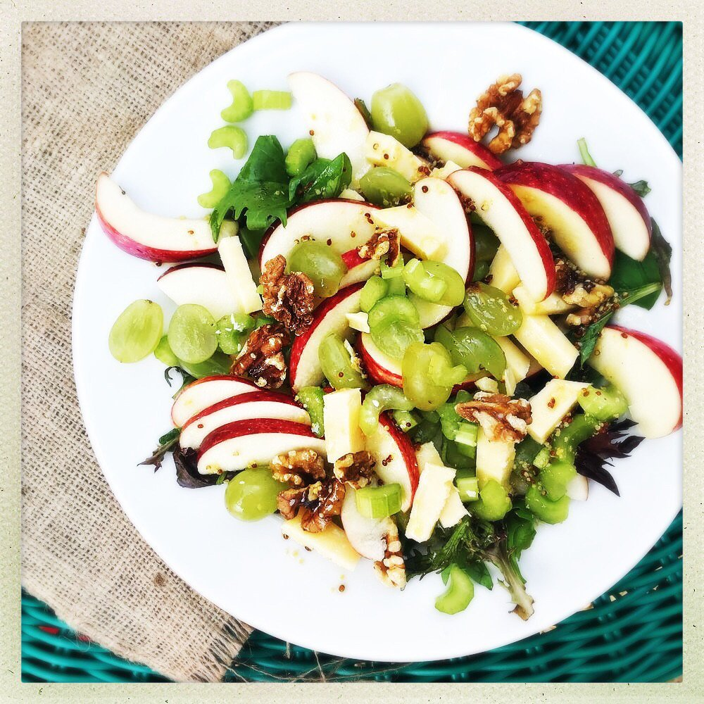apple walnut salad recipe with cheese and grapes.