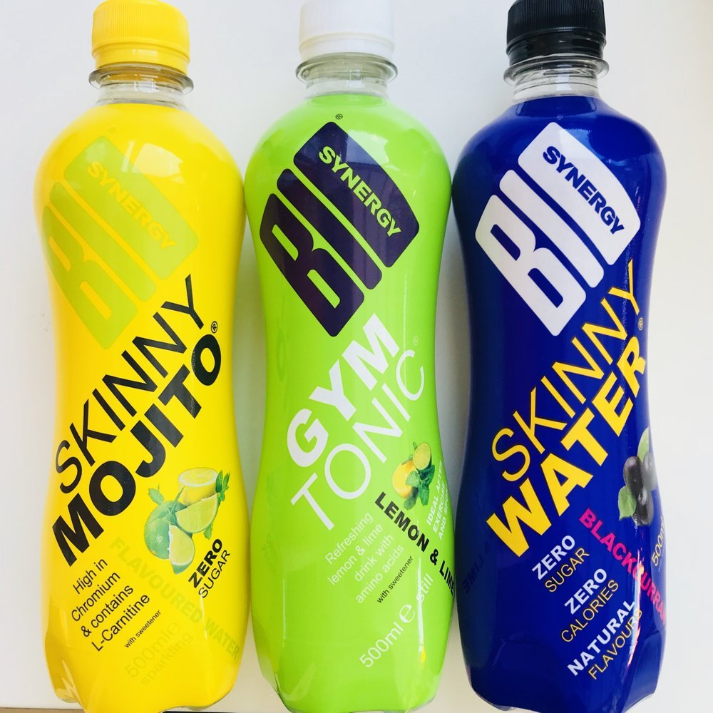Bio Synergy sport drinks in skinny mojito, gym and tonic and skinny water blackcurrant flavour