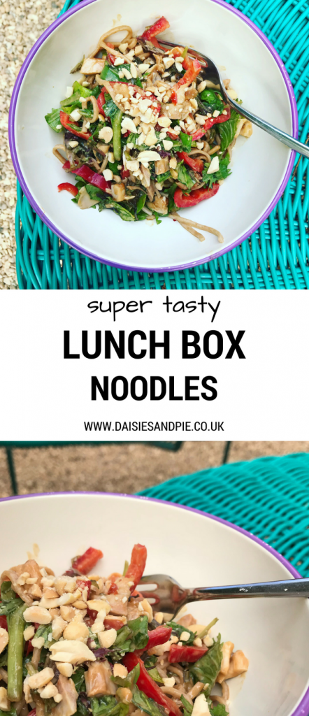 "turquoise whicker table with white and lilac enamel bowl filled with homemade chicken and peanut noodles. Text overlay saying ""super tasty lunch box noodles"" daisiesandpie.co.uk"