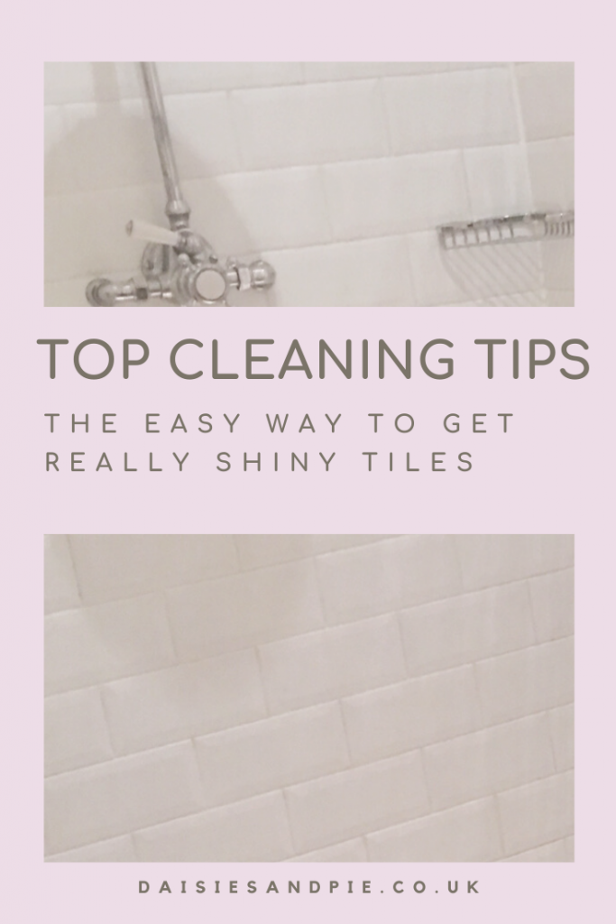 """white shiny clean bathroom tiles sparkling clean. Text """"top cleaning tips the easy way to get really shiny tiles - daisiesandpie.co.uk"""""""