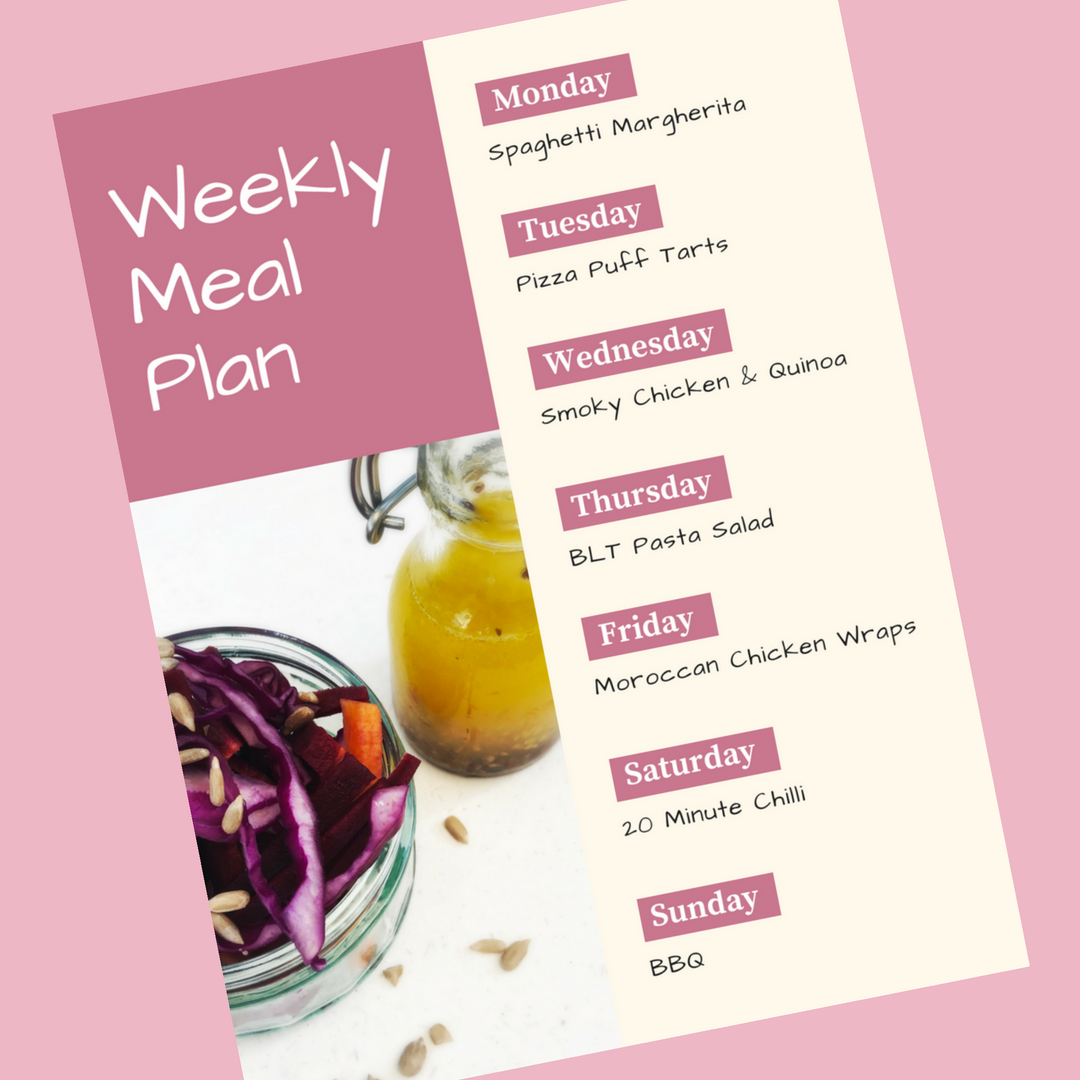 weekly family meal plan - Monday spaghetti margherita, Tuesday - pizza puff tarts, Wednesday - smoky chicken and quinoa, Thursday - BLT pasta salad, Friday - Moroccan chicken wraps, Saturday - 20 minute chilli, Sunday - BBQ