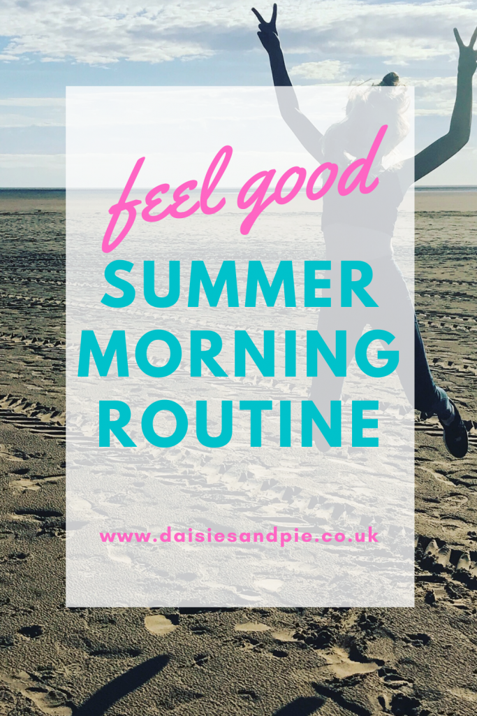 "girl jumping in the air on the beach. Text ""feel good summer morning routine"""
