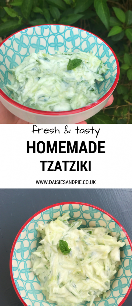 """red, white and blue bowl filled with homemade tzatziki dip. Text overlay saying """"fresh and tasty homemade tzatziki"""""""