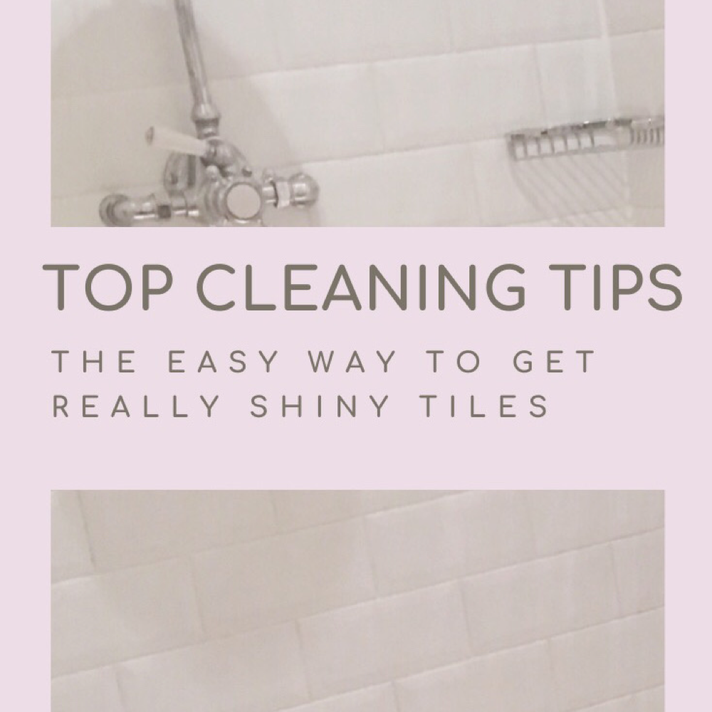 "white shiny clean bathroom tiles sparkling clean. Text ""top cleaning tips the easy way to get really shiny tiles - daisiesandpie.co.uk"""