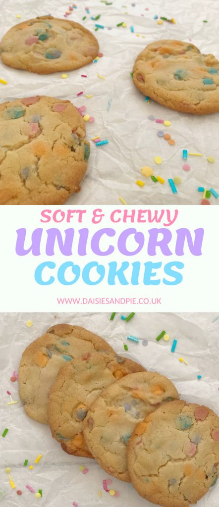 "unicorn cookies on white paper scattered with unicorn sprinkles. Text overlay saying ""soft and chewy unicorn cookies - www.daisiesandpie.co.uk"""