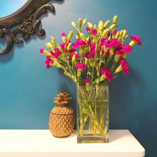 eal walls with vase of magenta carnations and gold pineapple next to vase.