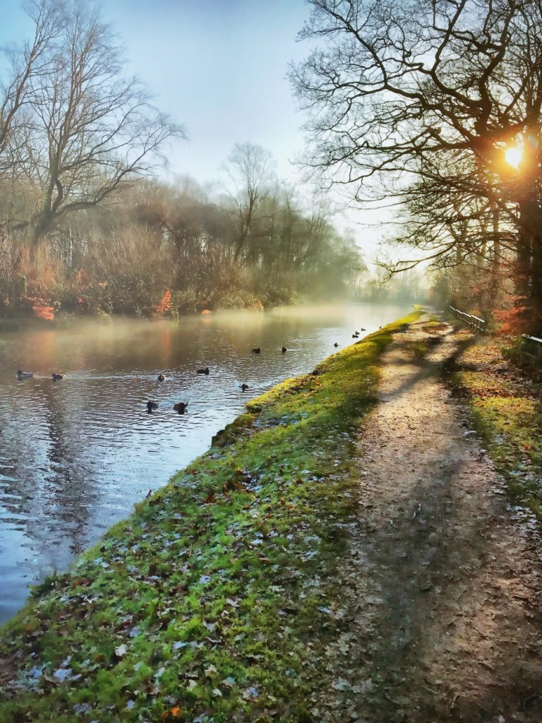 the canal walk at Haigh woodland park in Wigan - autumn time with leaves falling and mist shrouding the canal