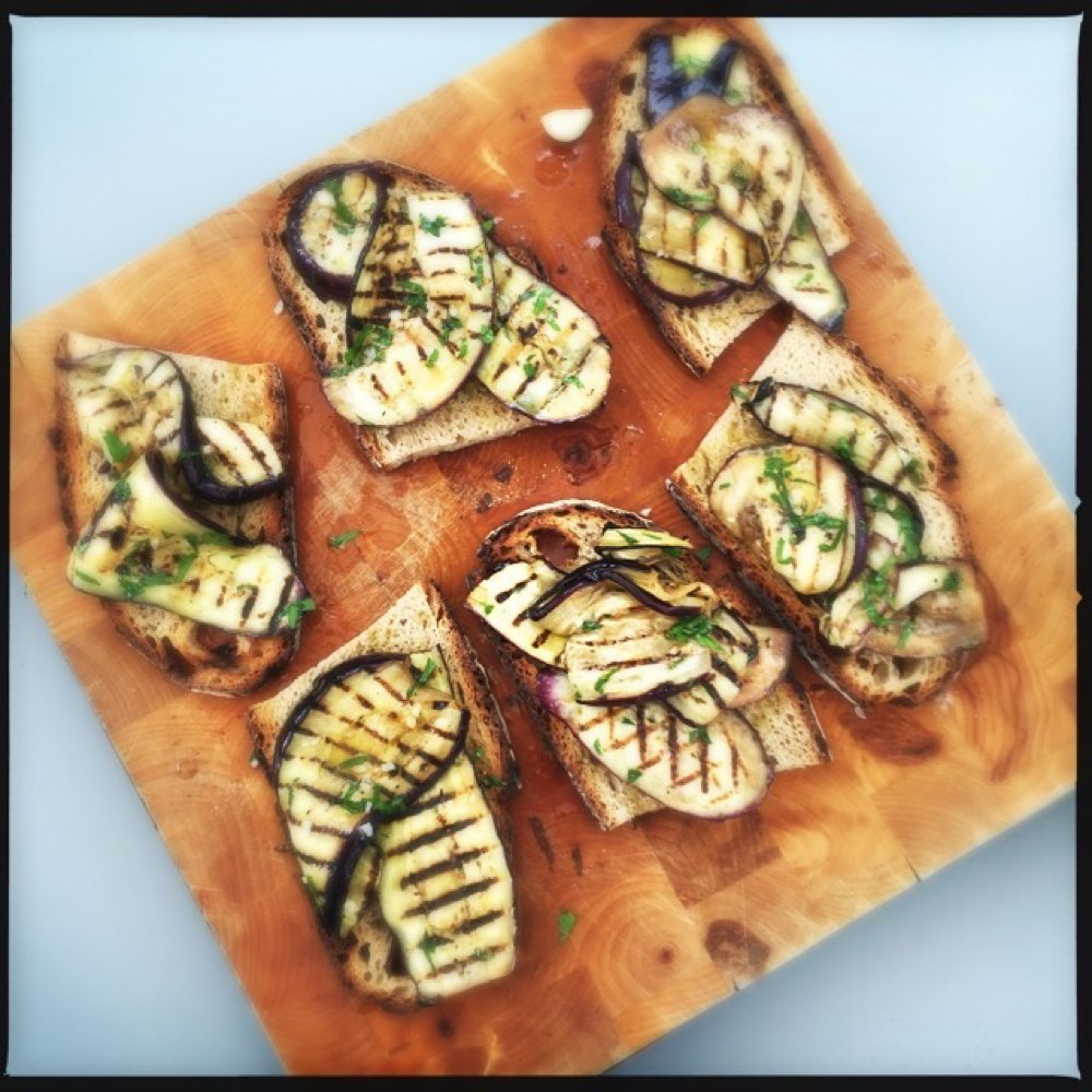 Simple Aubergine Bruschetta