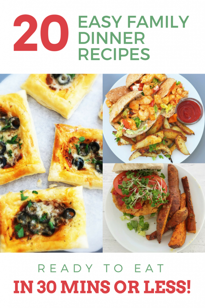 "pizza puff tarts on a white tray, cheesy chicken subs with oven baked wedges and vegan burger with sweet potato wedges. Text overlay saying ""easy family dinner recipes ready in 30 minutes or less"""