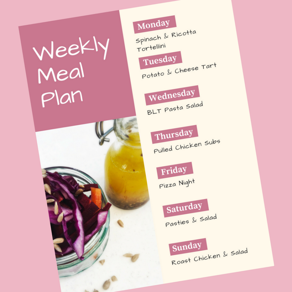 weekly family meal plan - Monday - spinach and ricotta tortellini, Tuesday - potato and cheese tart, Wednesday - BLT pasta salad, Thursday - pulled chicken subs, Friday - pizza night, Saturday - pasties and salad, Sunday - roast chicken and salads