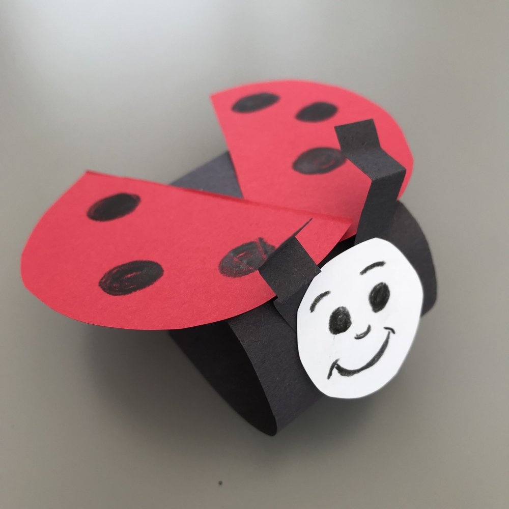 paper loop ladybird made by kids.