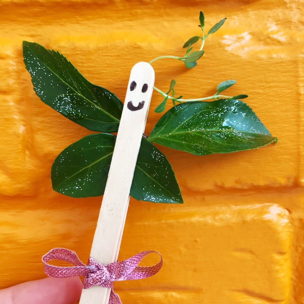 Lolly Stick Leaf Butterfly Craft