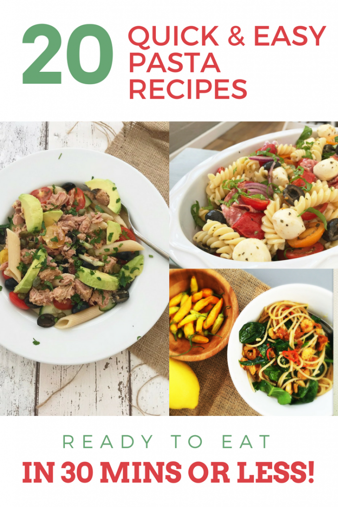 bowlful of tuna avocado pasta salad, bowl of Italian pasta salad, bowlful of prawn and spinach spaghetti. Text overlay saying 20 easy pasta recipes ready in 30 minutes or less""
