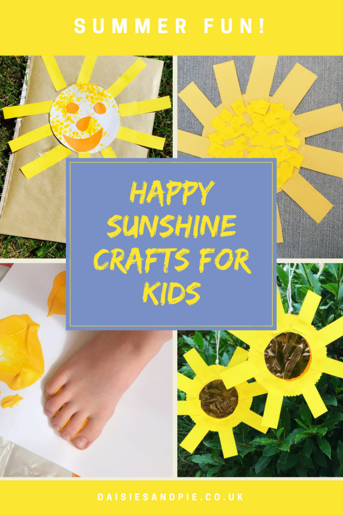 """4 kids sunshine crafts - scrapbook with sunshine face on the front, mosaic sunshine, small child doing bright yellow painted footprints, sunshine sun catchers hung in a tree. Text overlay saying""""happy sunshine crafts for kids"""""""