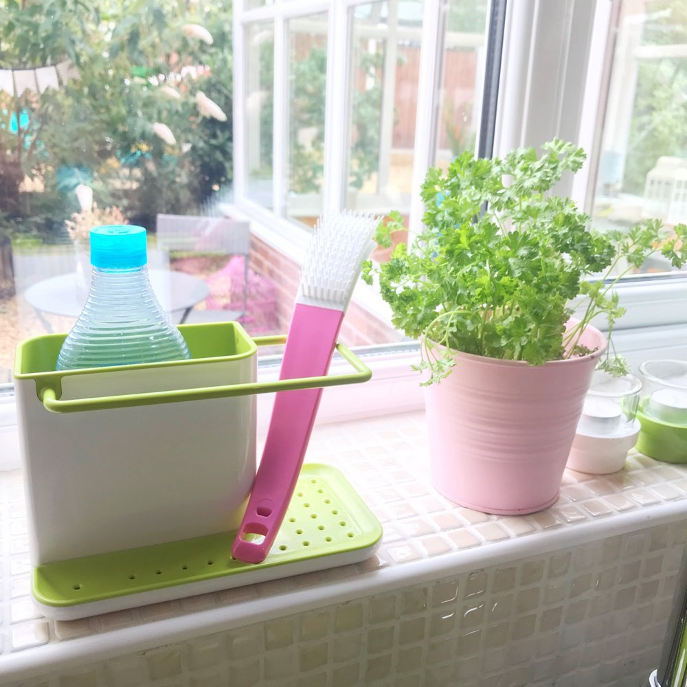 josephjoseph sink caddy with Ecover washing up liquid and glide dish brush on a windowsill next to a pink pot with herbs in it