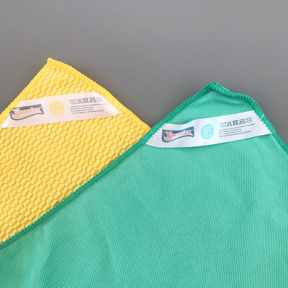 Spontex microfibre window kit green honeycomb textured cloth and yellow shining and buffing cloth
